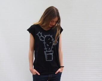 Woman Cactus T-shirt Cactus Print White Melange grey T shirt boyfriend T-shirt Silkscreen  Cacti