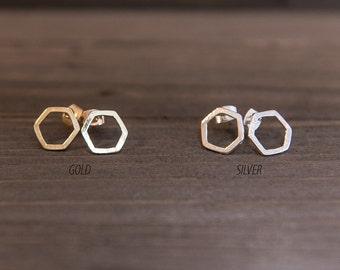 Hexagon Stud Earrings Gold or Silver