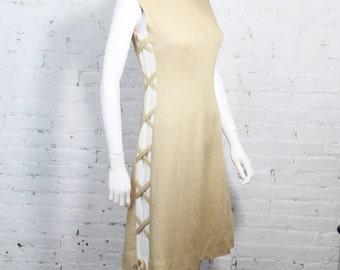1960s Anne Fogarty Dress Linen Corset Lace Up Side Beige White Mod Shift S
