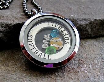 Softball Diva Memory Locket, build your own locket, birthstone locket, floating charms memory locket, OOAK