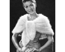 Angora Cape Knitting Pattern 1950s Vintage Knit Evening Stole Wrap Pattern Womens Wedding Wrap PDF Instant Download -K1