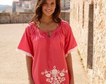 Coral cotton fringed summer dress, beach kaftan
