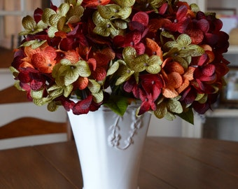 Hydrangea | Hand Blended Hydrangea Stem | Hydrangea Flowers | Artificial Burgundy Silk Hydrangea | Hydrangea Centerpiece | Red Hydrangea