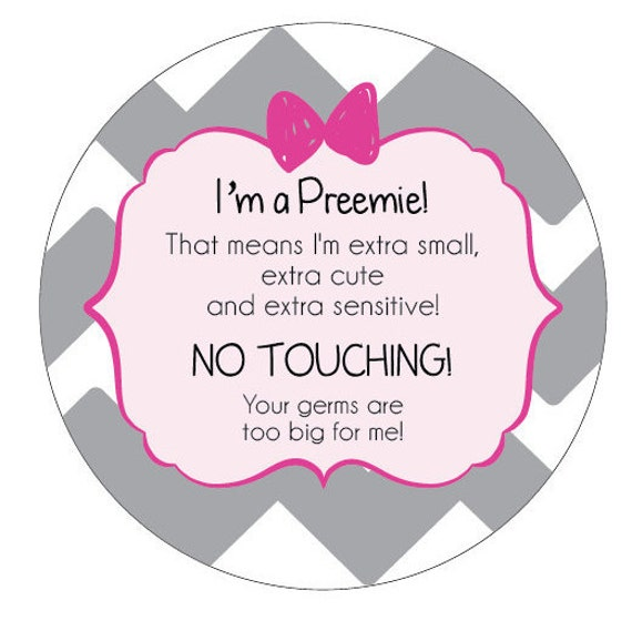 Girl Preemie, newborn, baby car seat tag, baby shower gift, stroller tag, Preemie no touching baby car seat sign