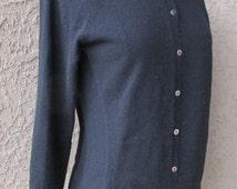 Black Cashmere Cardigan Button Down Long Sleeve Sweater by Celeste Sz S