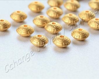 5 pcs Gold Saucer Beads, (10mm x 5mm) Gold Saucer Spacer Beads, 24k Matte Gold Plated Spacers, Metal Gold Saucer Beads / GPY-037