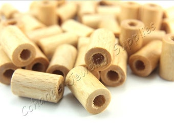 Wood Beads, 50 pcs Wooden Beads, (16mm x 10mm) Cream Tube Wood Bead, Cylinder Natural Wood Beads, Craft Wood Beads, Wooden Beads