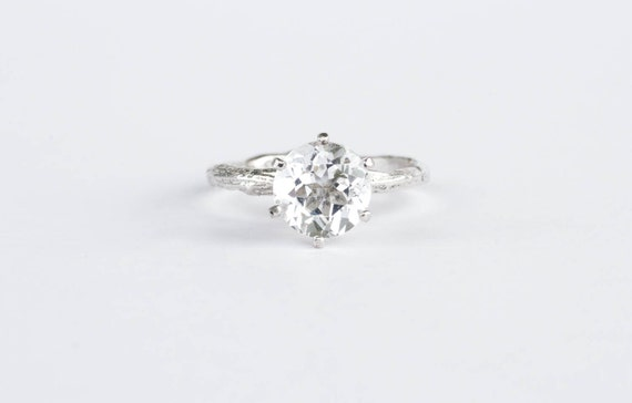 Large white topaz twig engagement ring, sterling silver twig ring
