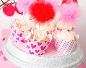 Red Tulle Cupcake Poms-Cupcake topper- Tulle pom- Pom pom- Valentine's party- Movie party- Tulle pom