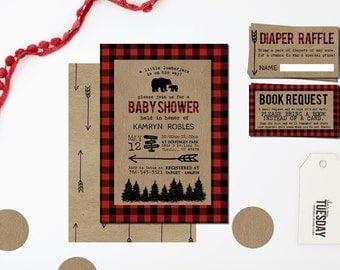 Lumberjack Baby Shower Invitation - Camping Baby Shower Invitation - Buffalo Plaid Baby Shower Invitation - Plaid Bear Baby Shower Invite