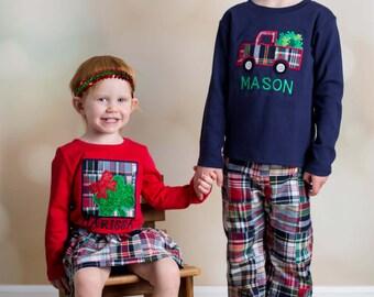 Boy Girl Sibling St Patrick's Day Shamrock Shirts with Names - M6
