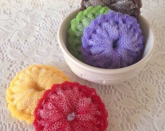 """Nylon Pot Scrubbers, 5 Mini Dish Scrubbies, Double Layered -  You Choose the Color - 3 1/4""""  to  3 1/2 """" Dia -  Gift For Her"""