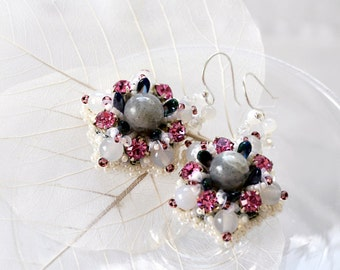 Dangle earrings Labradorite jewelry Gemstone earrings Gift for teacher Flower earrings Round earrings Gift idea for her Bead embroidered