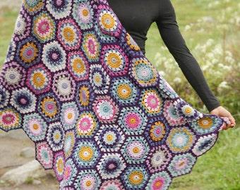 Crochet blanket, afghan blanket, boho blanket, granny's squares blanket, sofa blanket, bed blanket, hand mafe blanket.