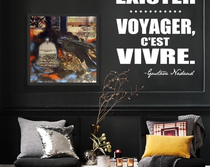 Rester c'est exister, VOYAGER c'est VIVRE / French Wall Decal Vinyl sticker Français home decor, french quote, travel, adventure