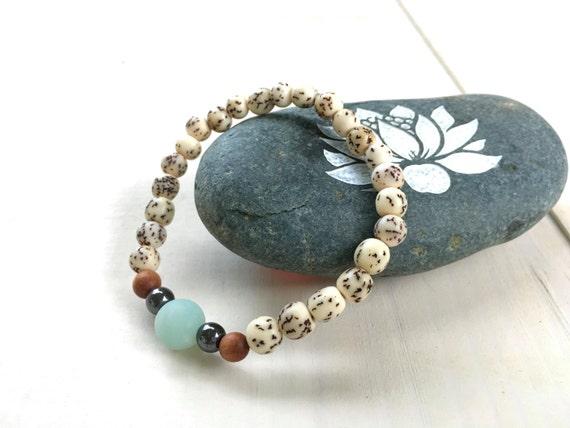 Natural Seed Stretch Bracelet, Matching Mala Bracelet, Amazonite and Sandalwood Bracelet, Yoga Beaded Bracelet, Yoga Inspired Jewelry, Boho