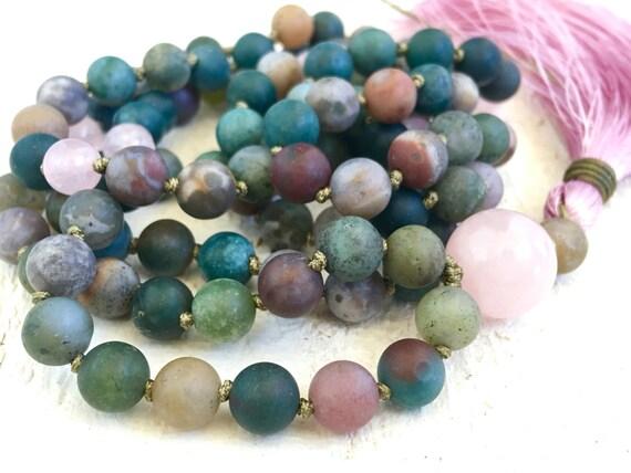 Indian Agate Mala Beads, Earthy Mala Necklace, Knotted 108 Bead Mala Necklace, Silk Tassel Mala, Yoga Jewelry, Yoga Inspired Necklace