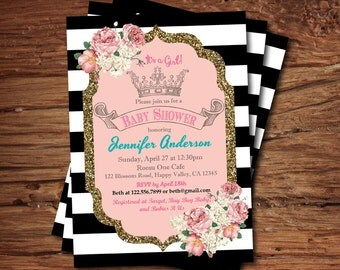 Baby girl shower invitation. Pink and gold glitter princess crown, French black and white stripe baby shower digital invite B071
