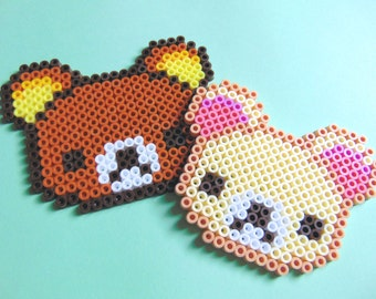 Sanrio/San X Inspired Kawaii Rilakkuma Korilakkuma Hama/Perler Fuse Bead Pixel Art Bead Sprite Coasters, 8 Bit, Home Decor, Decorative
