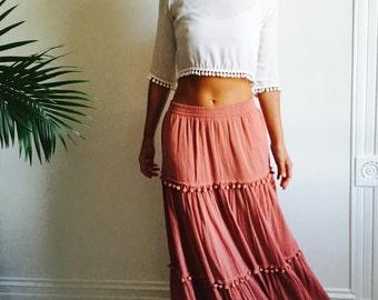 Vtg Antique Rose Tiered Ball Fringe Maxi Skirt
