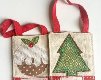 Fabric Christmas Tree Ornaments Christmas Decorations Christmas Pudding Christmas Tree Merry Joy