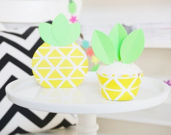 DIY Pineapple Cupcake Wrappers & Toppers - Set of 12 - Luau Party Decorations - Summer Cupcake