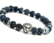 Lion Jewelry, Mens Silver Jewelry Bracelet, Crackle Agate Bracelet Men, Lion Charm Jewelry, Valentines Gift, Man Bracelet Gift for Brother