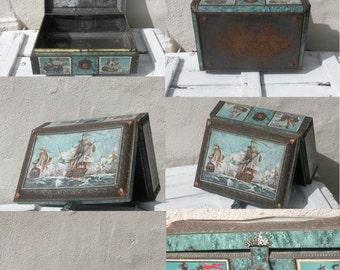 HUGE French vintage tin box, trinket box, sailing ships box, historical box, large tin box, large vintage box, tin box, sewing box