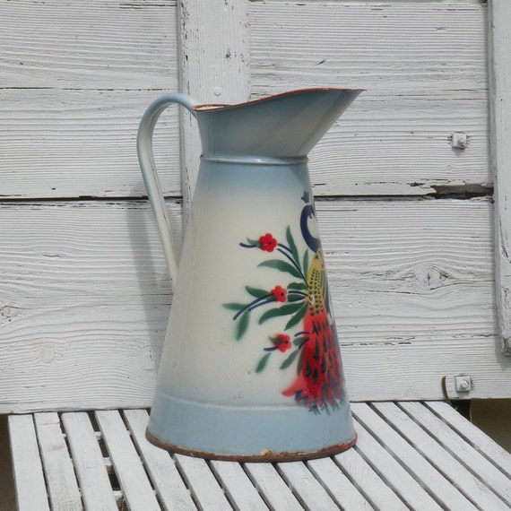 French vintage enamel water pitcher, French vintage enamel jug, French vintage enamelware, enamelware, Shabby chic Cottage chic pitcher