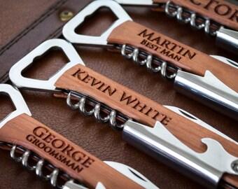 Personalized Bottle Opener, Groomsmen Gift, Bottle Opener, Wedding Gift, Engraved Corkscrew, Custom Bottle Opener, Custom Wine Opener