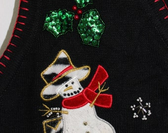 Ugly Christmas Sweater with SNOWMEN In PiMp HATS! XL 334