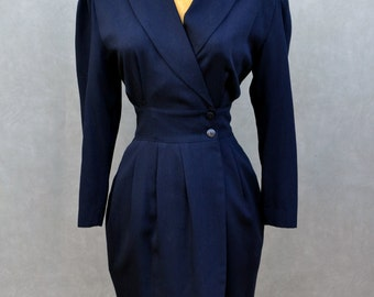 Navy Dress with Scarf