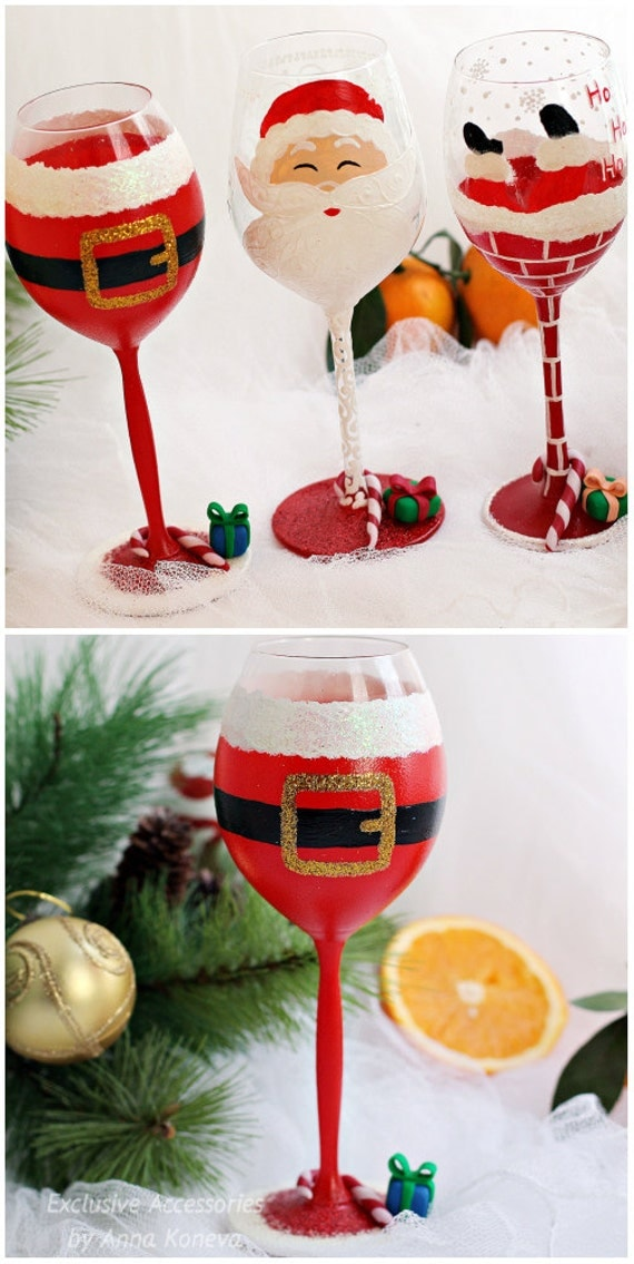 Christmas gift christmas wine glasses holiday wine glass santa for Holiday stemware