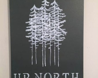Up North Pine Tree Canvas Painting