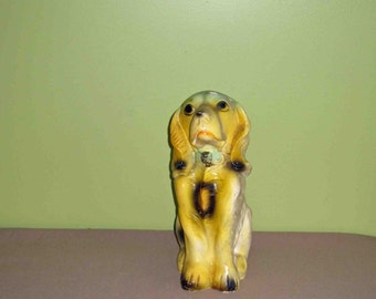 Vintage Carnival Chalkware With Glitter Spaniel Dog Coin Bank