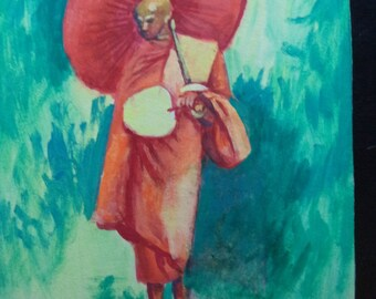 Andre Delfau Listed Artist MidCentury Asian Bali Thai Buddhist Monk Portrait Gouache Watercolor on Paper Original Art Painting Wall Hanging