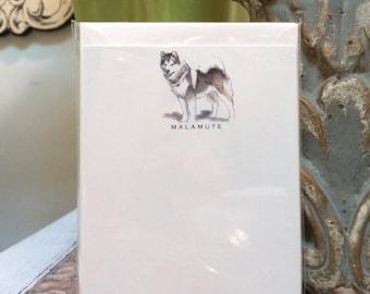 Malamute Dog Note Card Set
