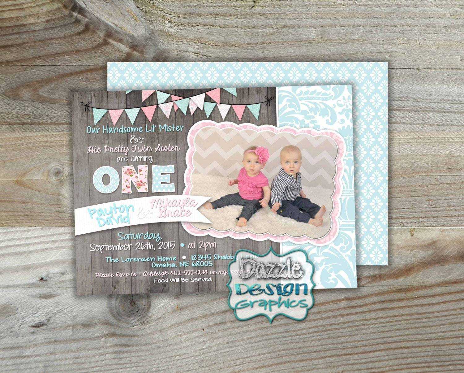 Shabby chic TWINS birthday invitation Boy Girl shabby 5x7