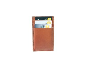 25 % OFF Slim Mens Card Holder Wallet - Genuine Leather - Brown