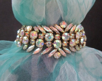 Vintage SHERMAN BRACELET - Signed Mid Century Designer Costume Jewelry - Aurora Borealis Swarovski Crystals - Navette / Marquis / Brilliant