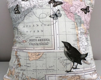 Map and butterflies cushion