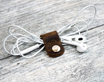 Personalized Leather Cord Wraps Cord Organizer