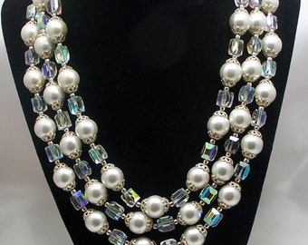 1950's Retro Faux Pearls and Aurora Borealis Crystal Beads Triple Choker