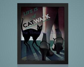 1930 ART DECO CAT -Vintage Cat Poster - Digital Vintage Photo- Instant Download -Digital Black and White Photo - Printable Art - Vintage