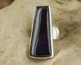 Silver Ring with Sugilite. Size 8.25. Natural stone. Gemstone ring. Sugilite jewel. Sugilite cabochon. Silver jewel Sugilite. purple stone
