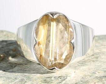 Rutile Quartz silver ring. Size 8.25. Natural Stone. Gemstone ring. Golden Rutile silver jewel. Ring size Q. Inclusions Quartz Ring.