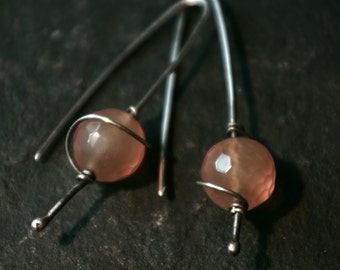 Handforged oxidised earrings with sun agate beads