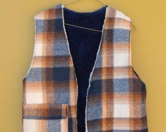S A L E ⎮ 40's-50's Plaid Wool and Faux Blue Fur Lined Vest