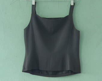 90's Black Cropped Tank Top