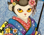 Japanese Maiko Cat Portra...